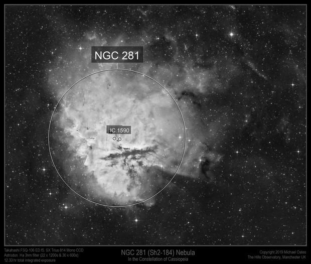 NGC 281 (Sh2-184) Nebula in Ha