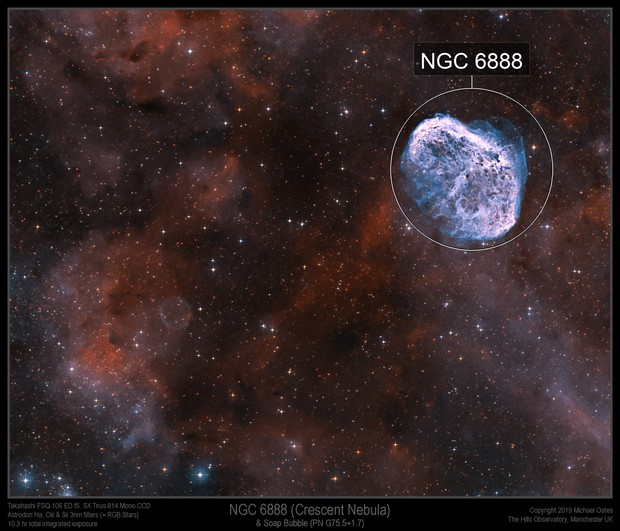 NGC 6888 (Crescent Nebula) & Soap Bubble (PN G75.5+1.7)