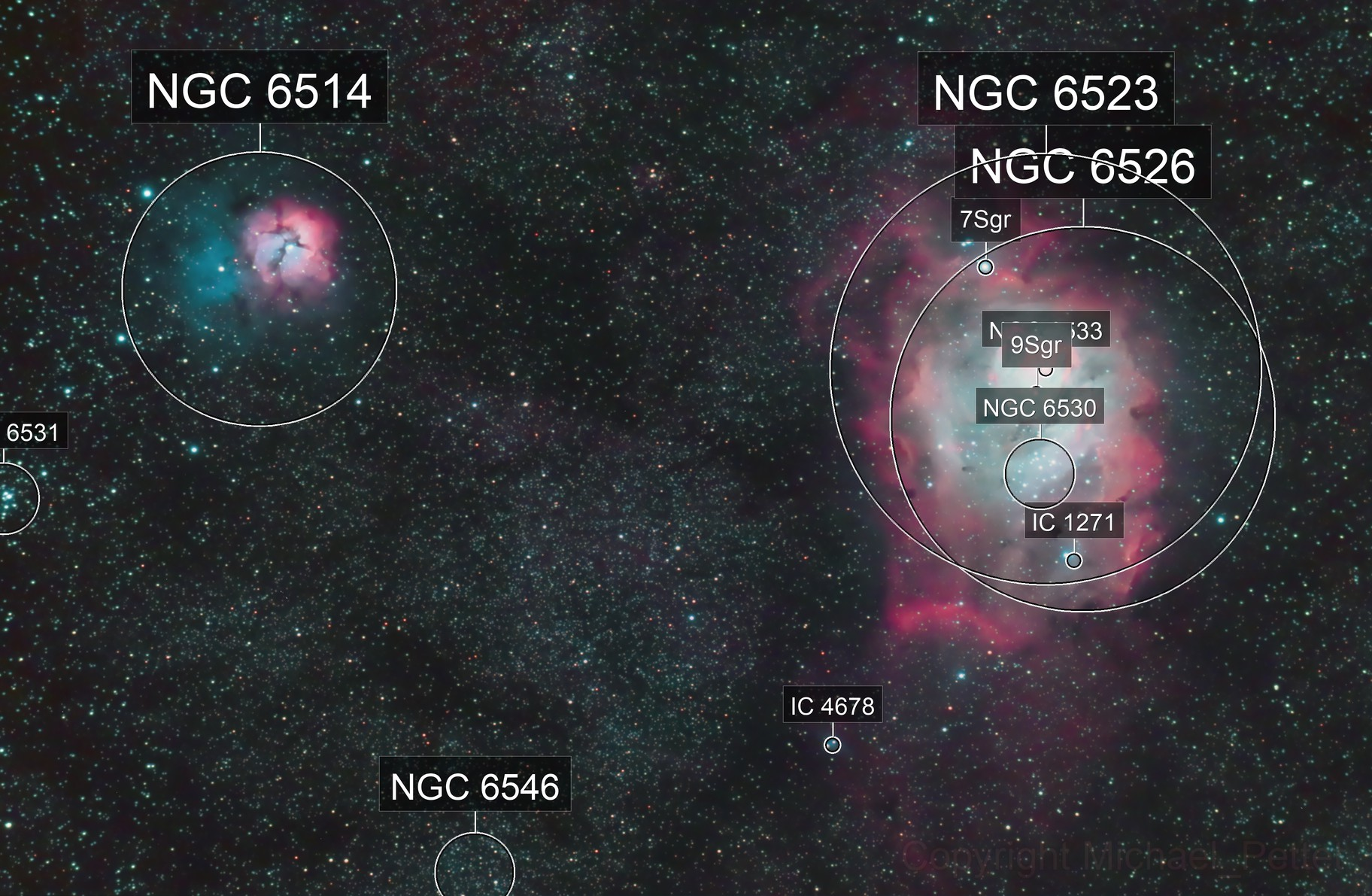 The Lagoon and Trifid Nebula in HaRGB