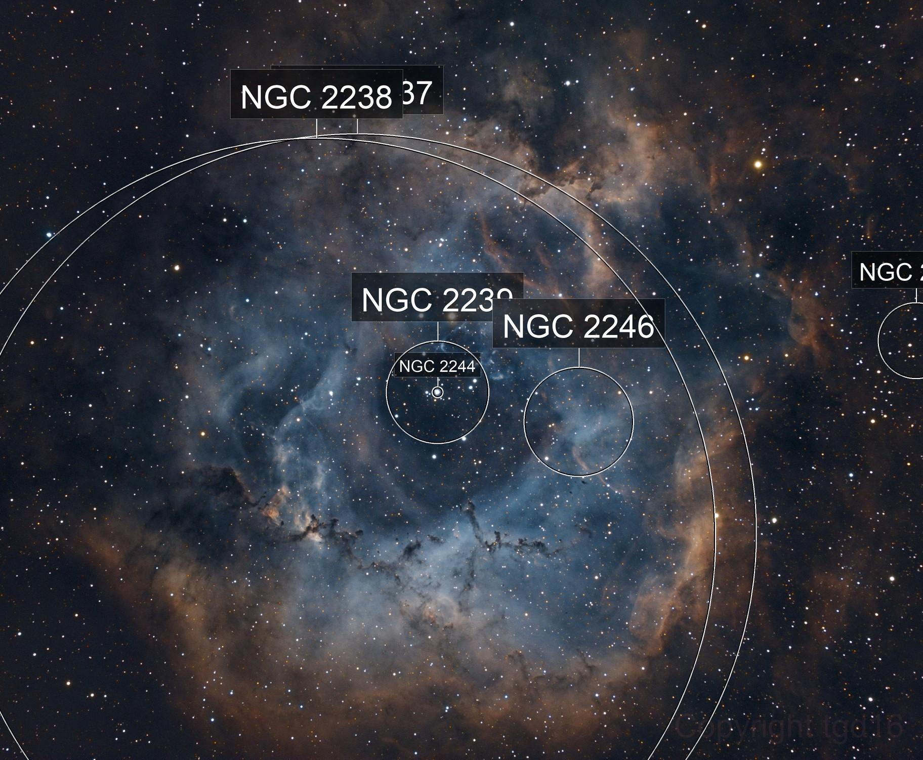 NGC2244, 2237 Rosette nebula, L-RGB-SHO