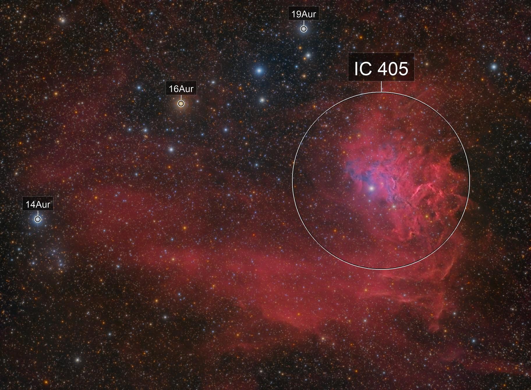 """The """"Flaming Star Nebula"""" IC 405 in LRGBHa"""