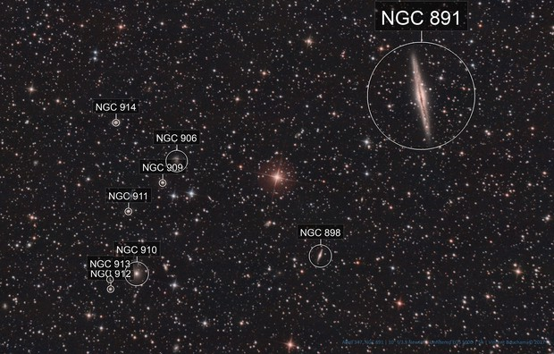 NGC 891 Vs. Abell 347 galaxy cluster [Drizzled x2]