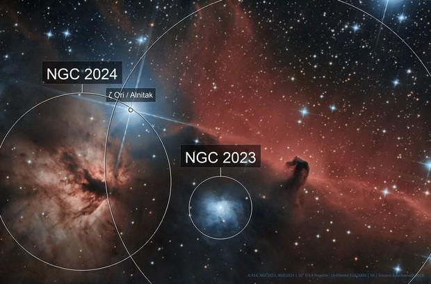 IC434, Horsehead Nebula & Flame Nebula