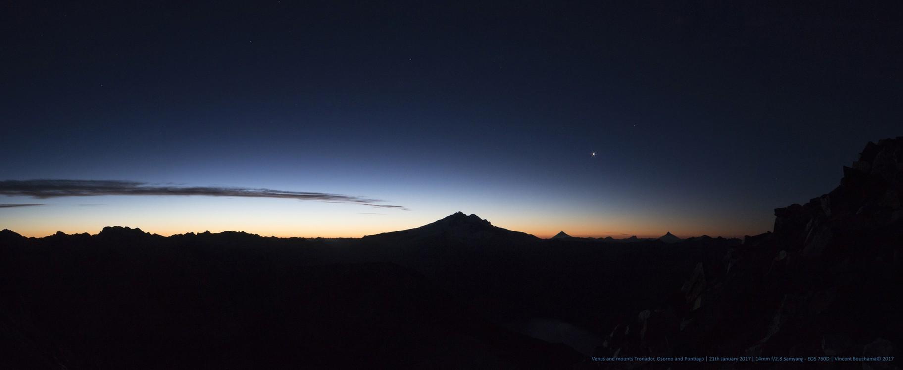 Venus and mounts Tronador, Osorno and Puntiago