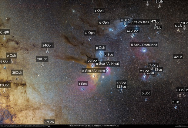 The Scorpion's Head - A Panorama of Stars and Nebulae