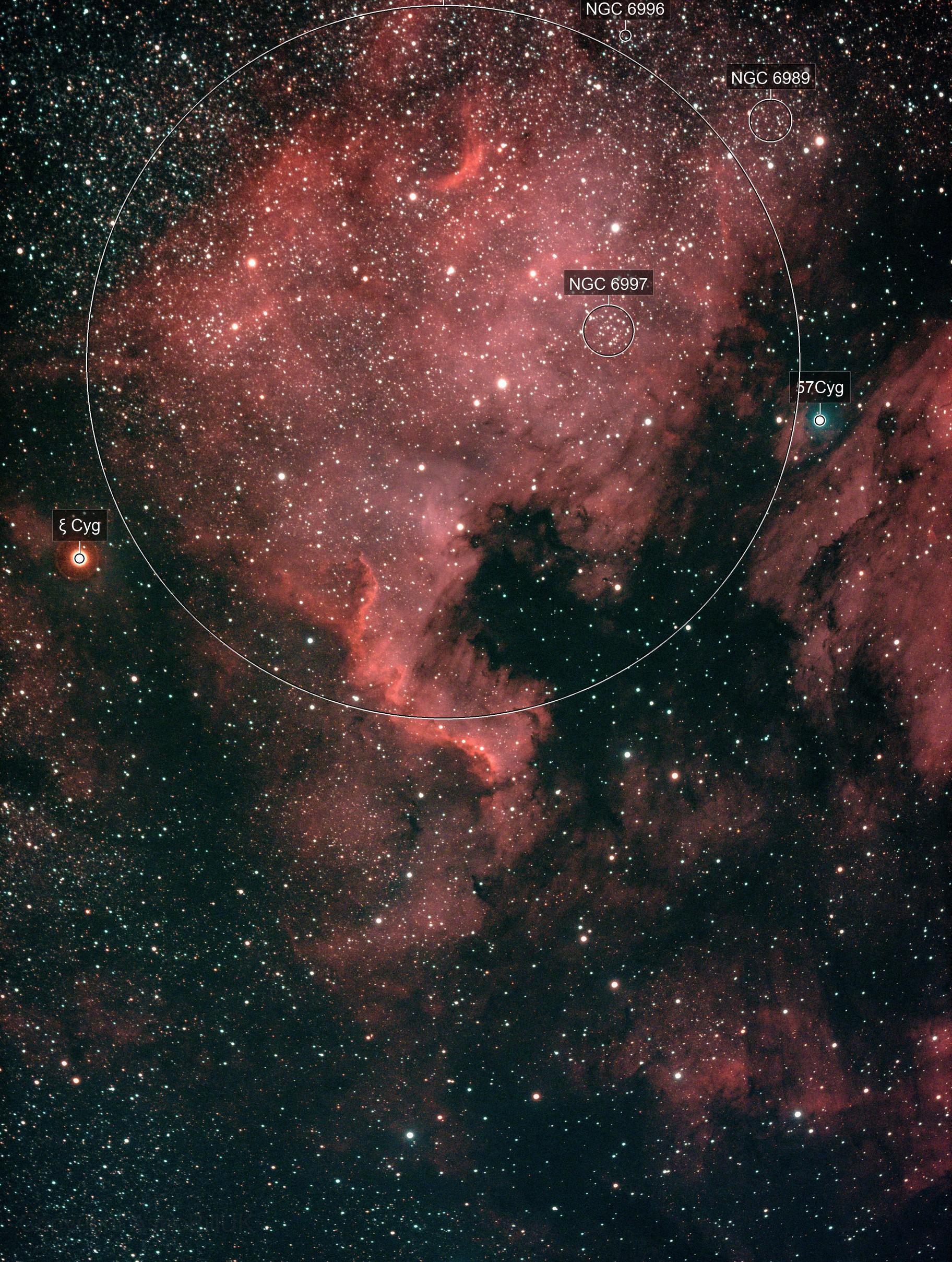 North America Nebula on Sharpstar 61 EDPH II with Altair Hypercam 269c (85% moon)