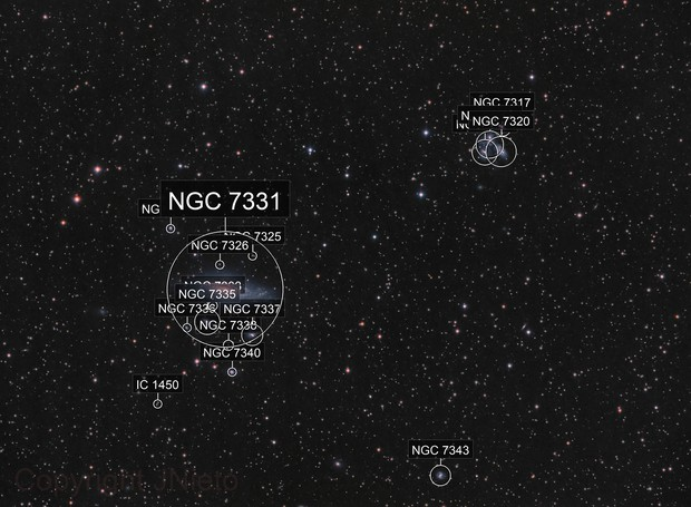 NGC7331 and Quintet in mix broad and narrow band