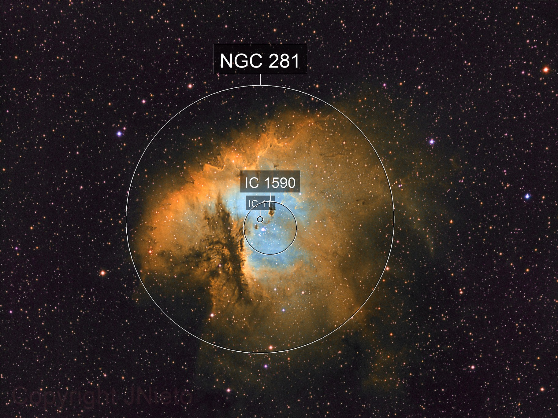 Sharpless 2-184 or NGC 281, also called Pacman nebula