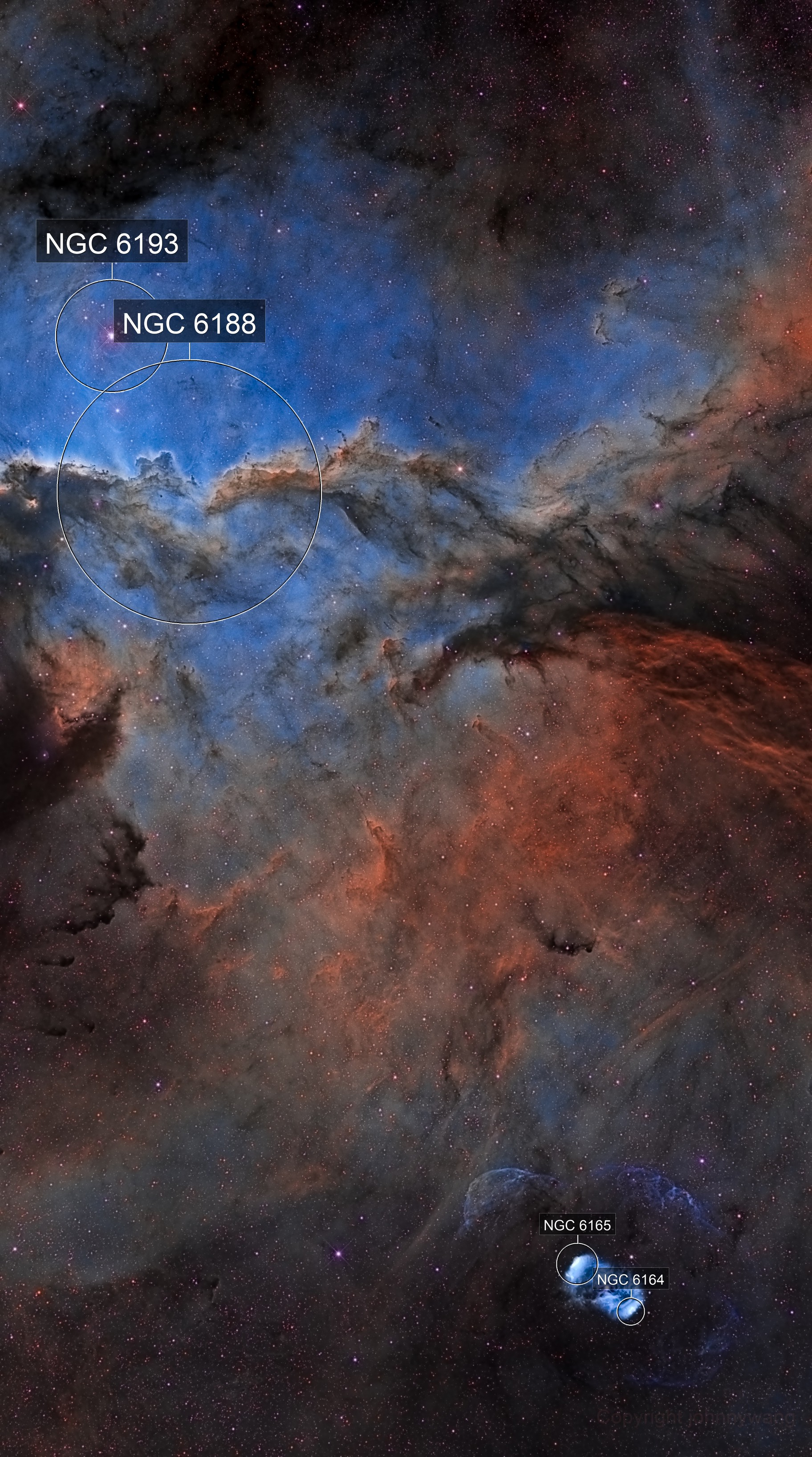 NGC6188 and NGC6164 The Fighting Dragons of Ara HSO Mosaic 1*2