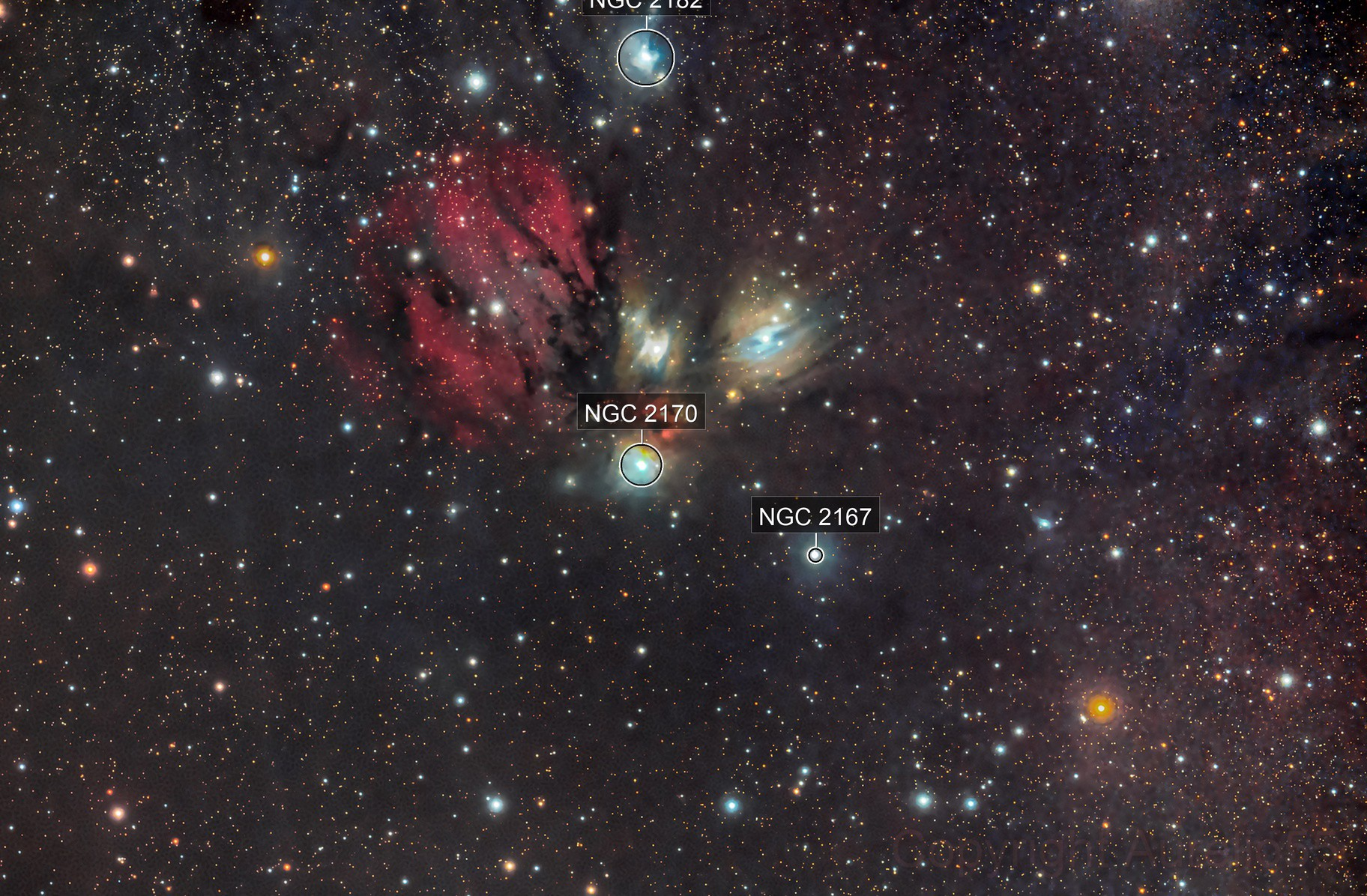 NGC 2170 integrated with H-alpha