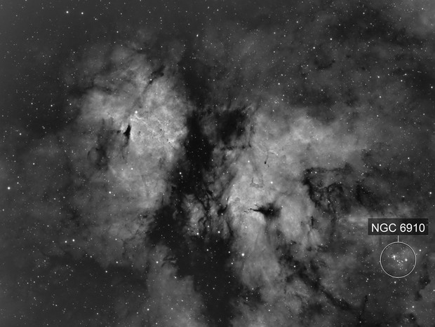 Gamma Cygni Nebula IC1318 and NGC 6910 in H-Alpha