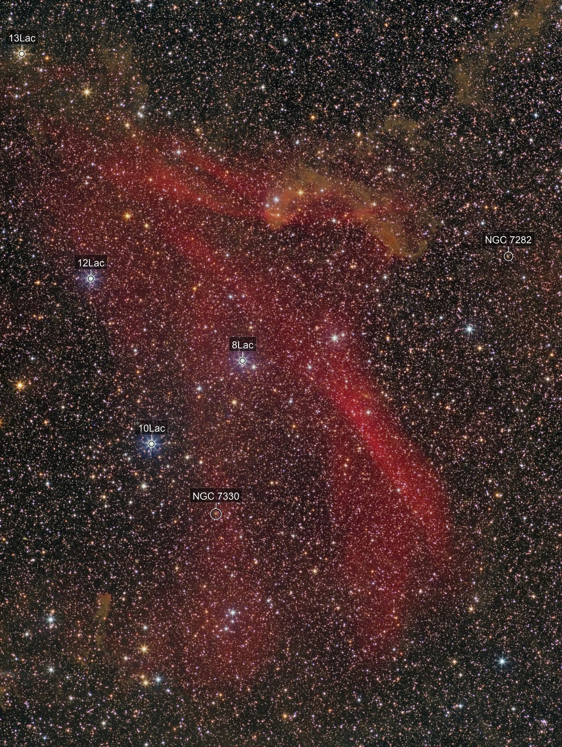 Nebulae in Lacerta