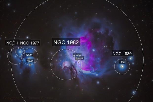 Messier 42, the Orion Nebula and NGC 1975, the Running Man Nebula
