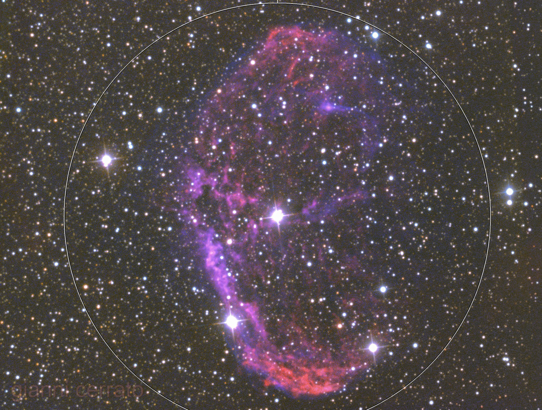 NGC6888 - the Crescent Nebula from south Corse in Ha+O3+LRGB