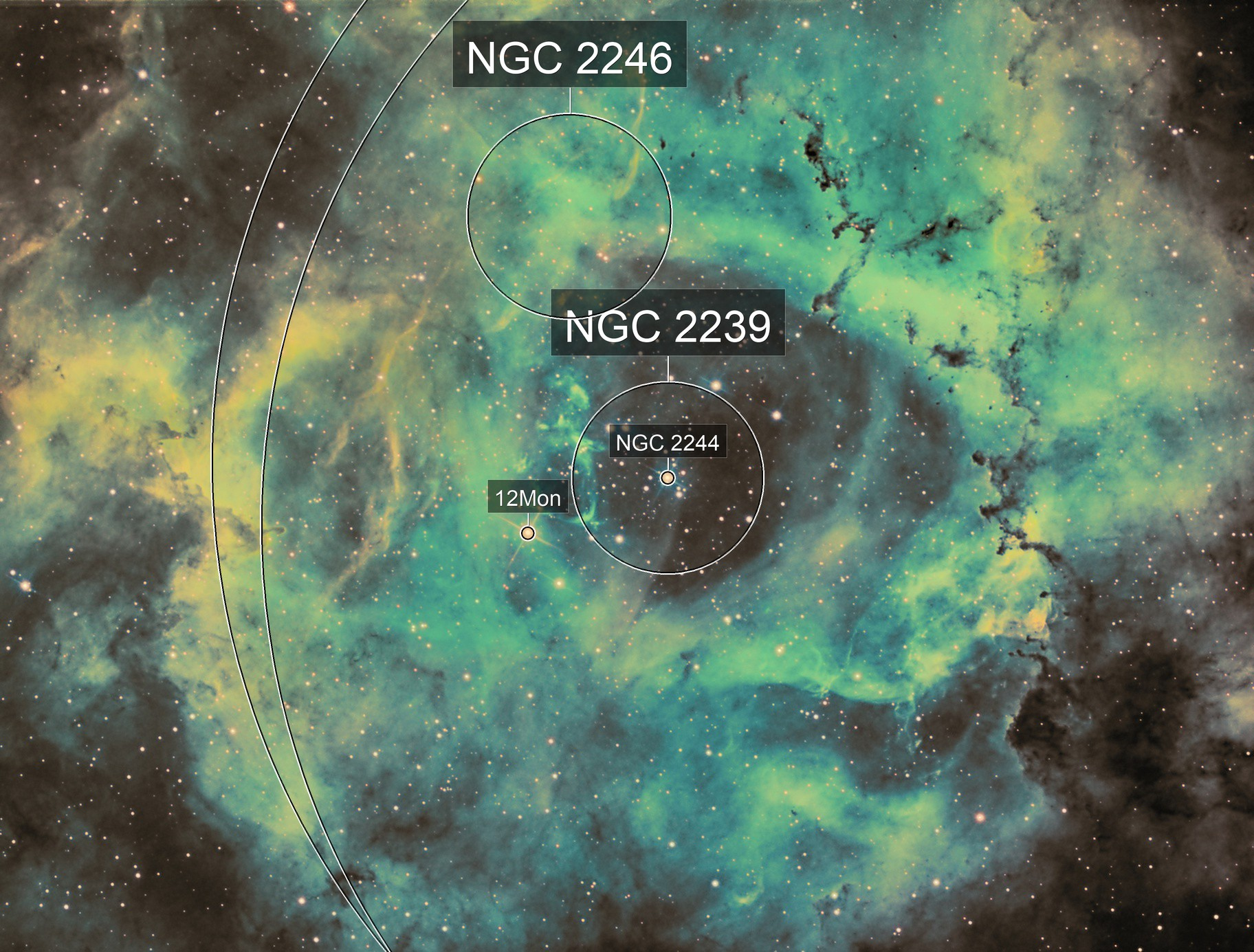 Rosette core in Hubble palate