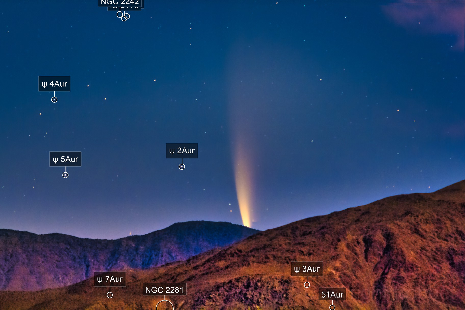 Comet Neowise Rising from Santa Rosa Mountains