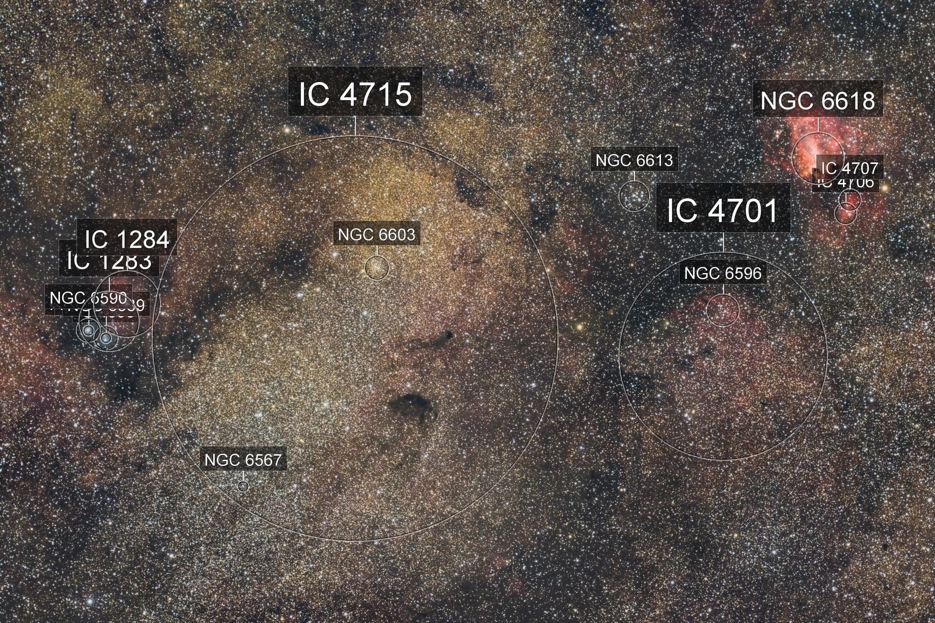 Wide field on Sagittarius star cloud and Omega nebula