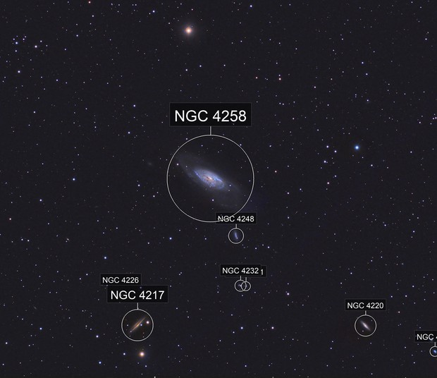 M106 and friends in a Bortle 7 - cropped