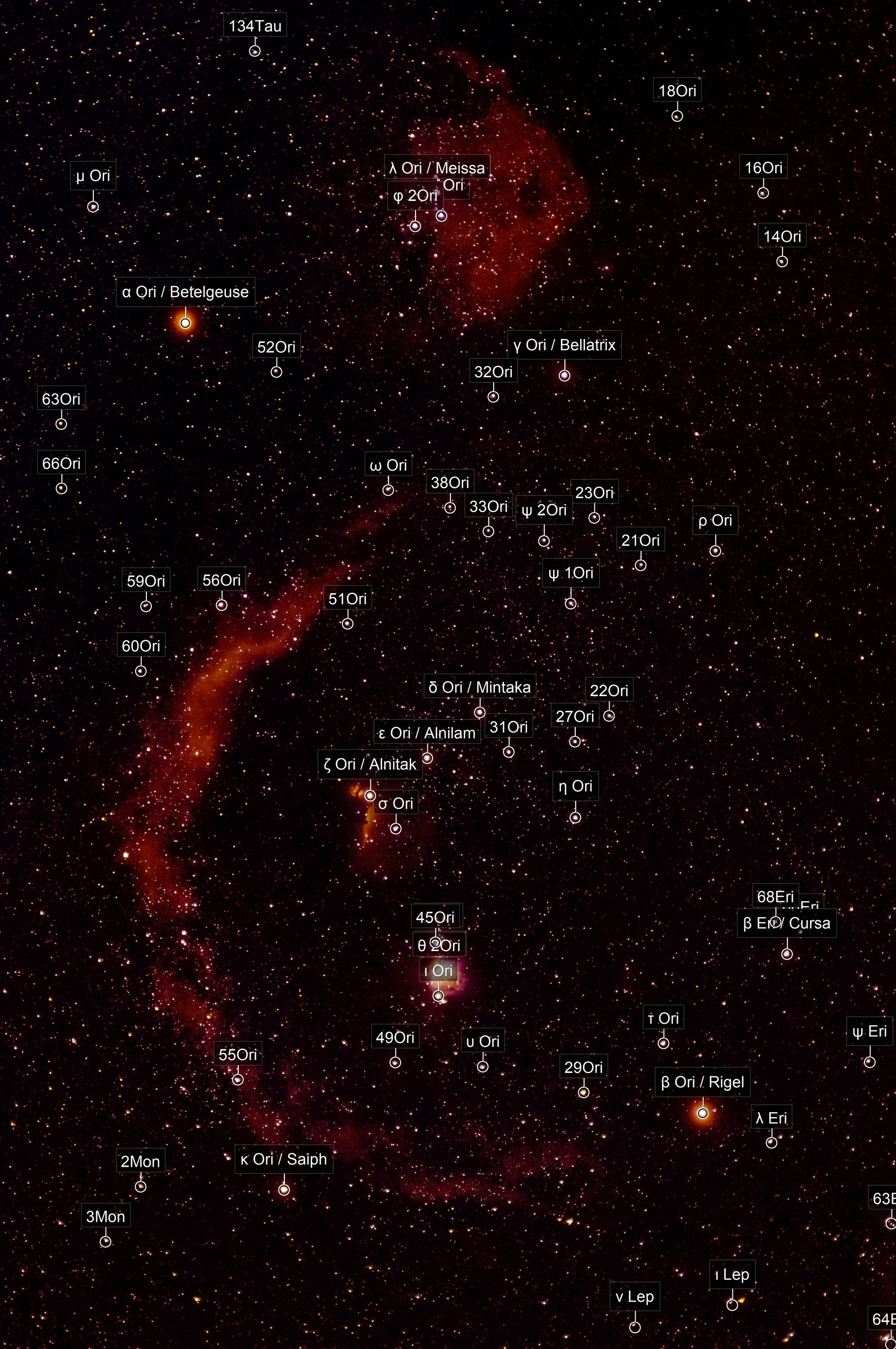 SH2 276 - Barnard's Loop and SH2 264 - Angelfish Nebula, in Orion