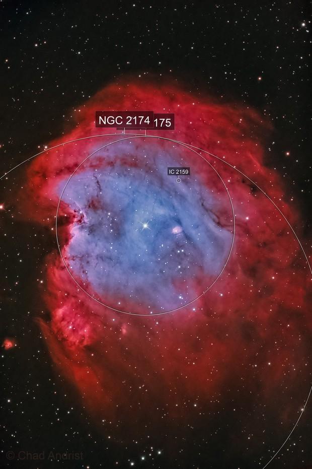 NGC 2174 Monkey Head nebula in HOO