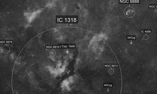IC1318 + NGC6888 widefield