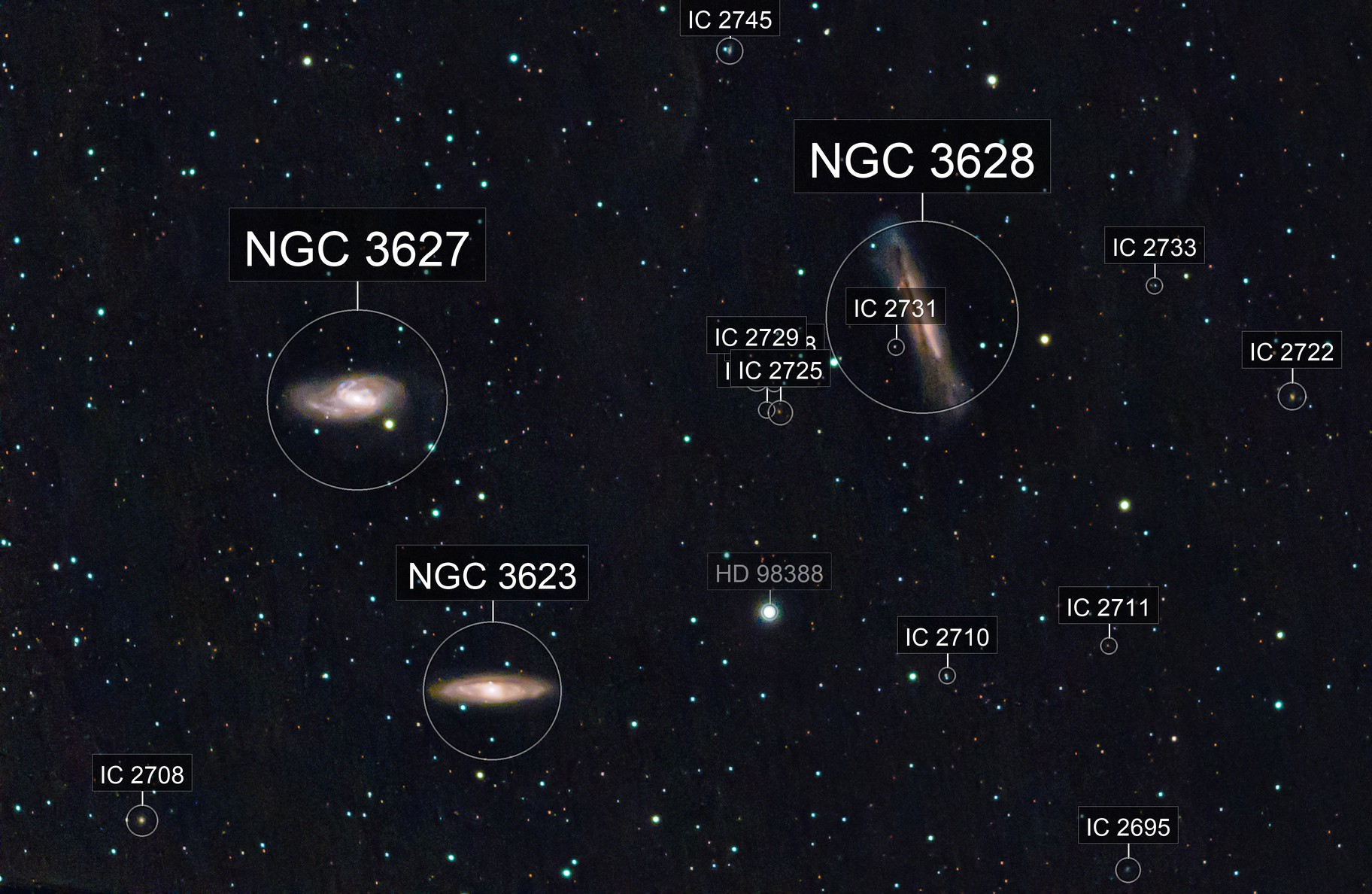 Leo Triplet: M65, M66, and NGC 3628