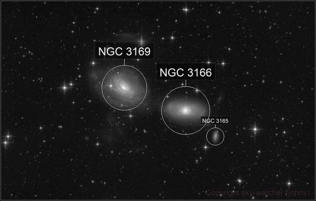 Interacting Galaxies NGC 3169 / 3166 / 3165 and 2 Asteroids