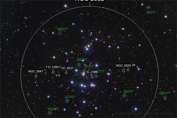 The Beehive Cluster and 9 Asteroids