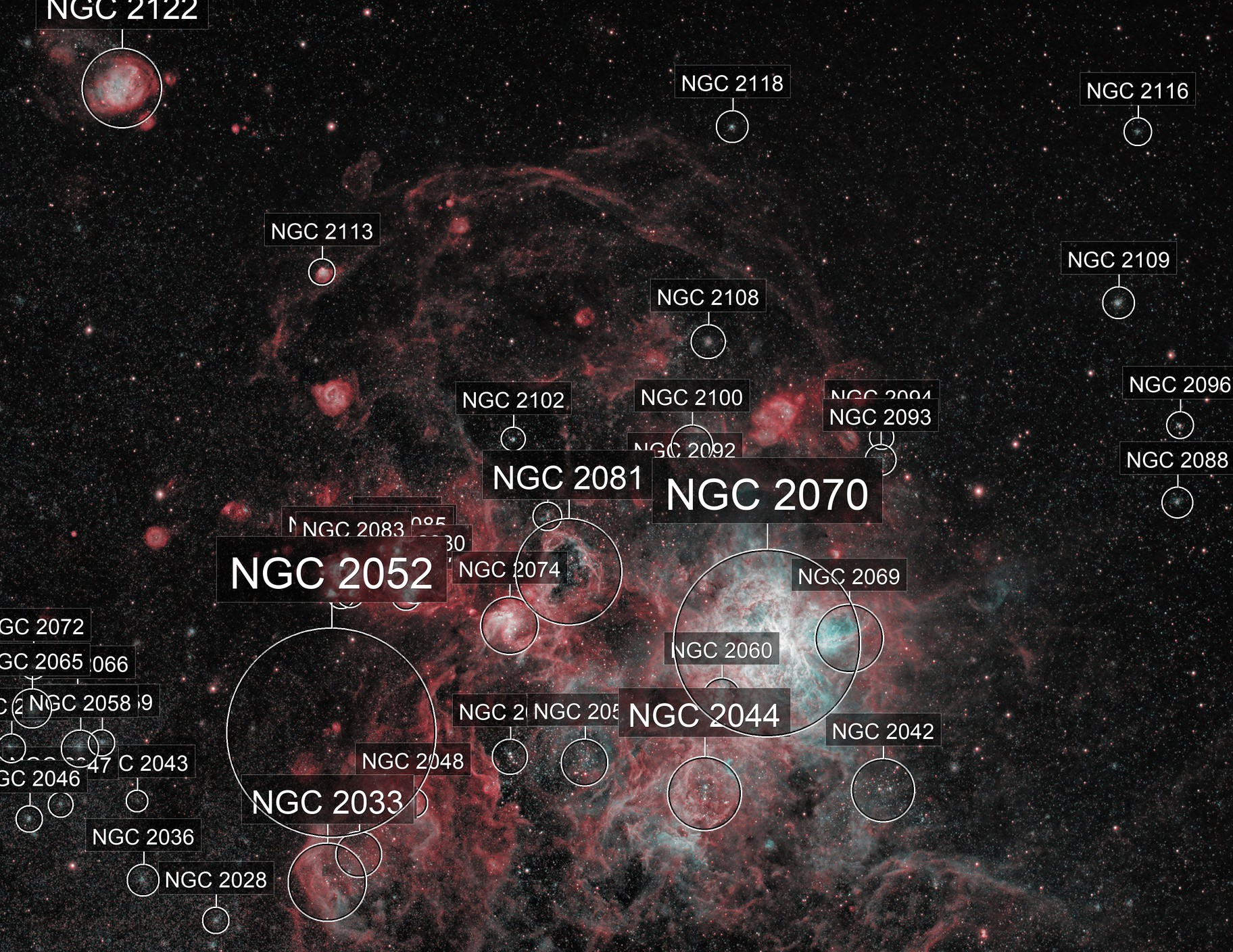 Tarantula Nebula in HOO