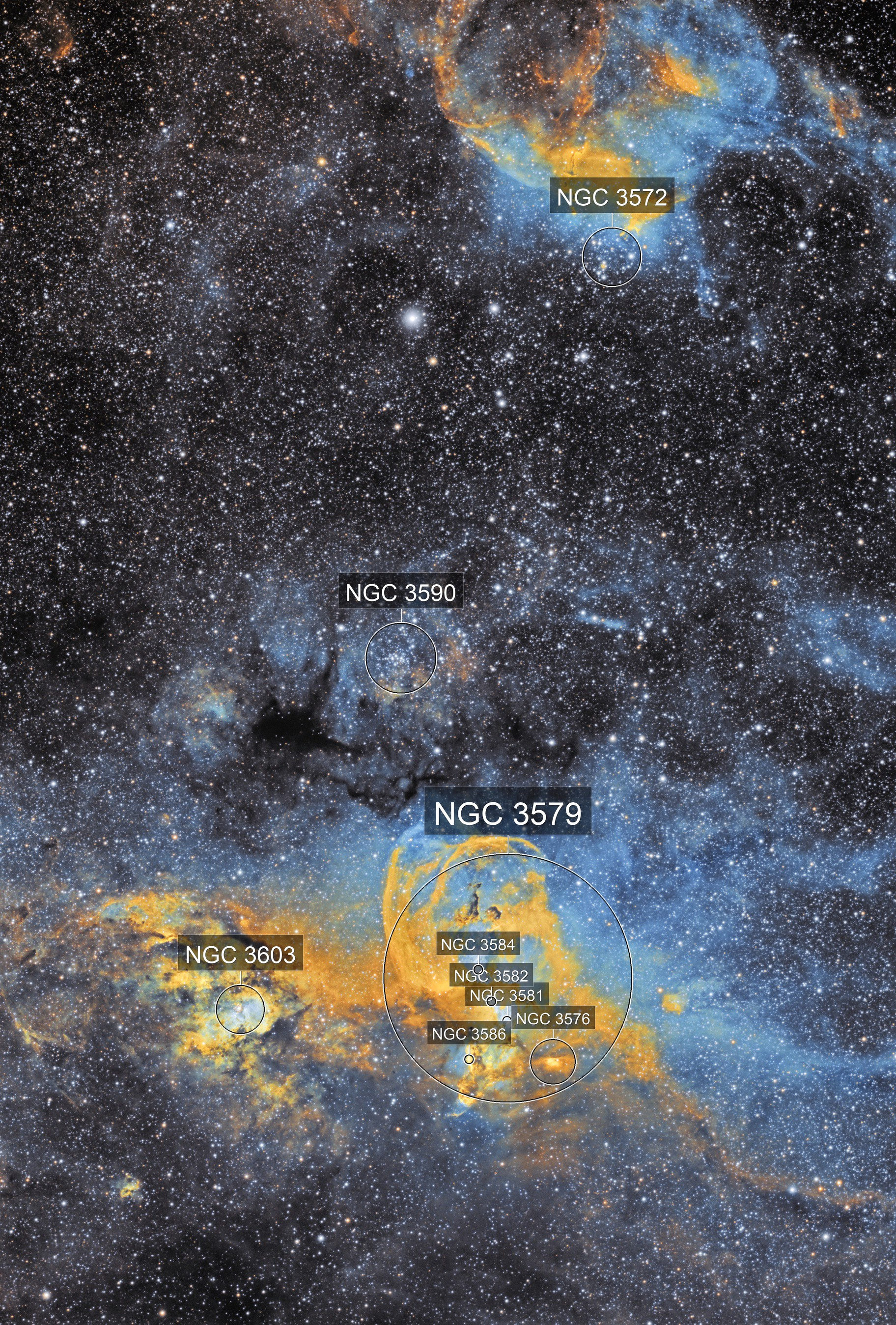 NGC 3576 Statue of Liberty and NGC3572 cluster and nebulosity