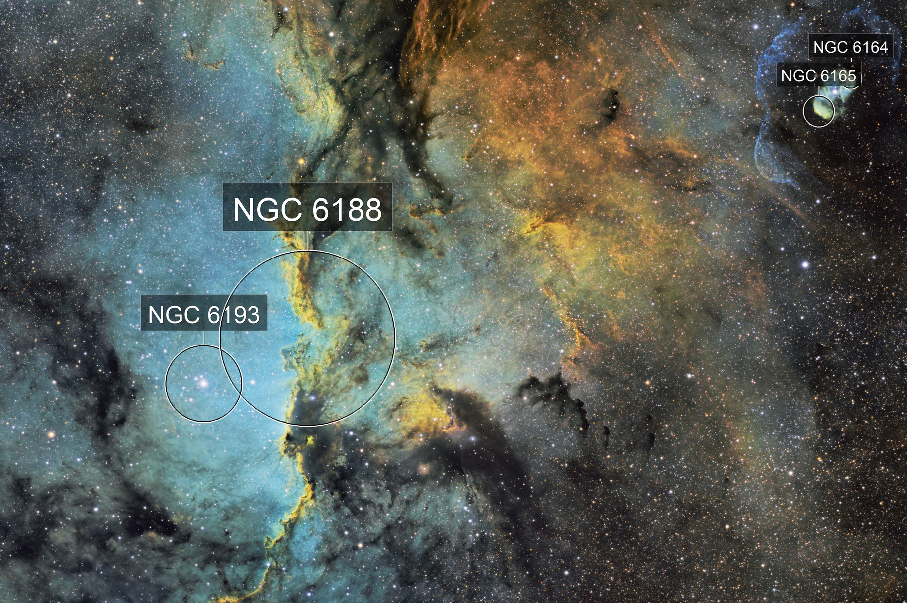 Fighting Dragons (NGC6188) in SHO with special guest star appearance by PK 336-0.1