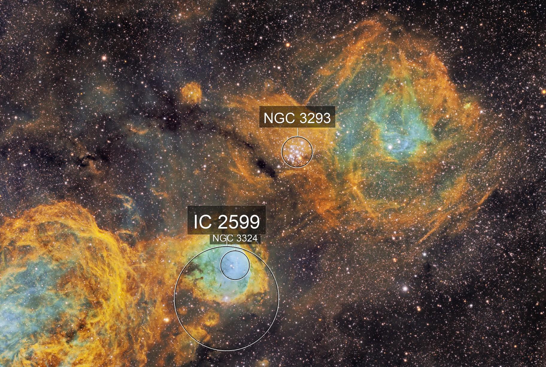 Gabriela Mistral Nebula plus Nebula around cluster NGC3293 - SHO narrowband image