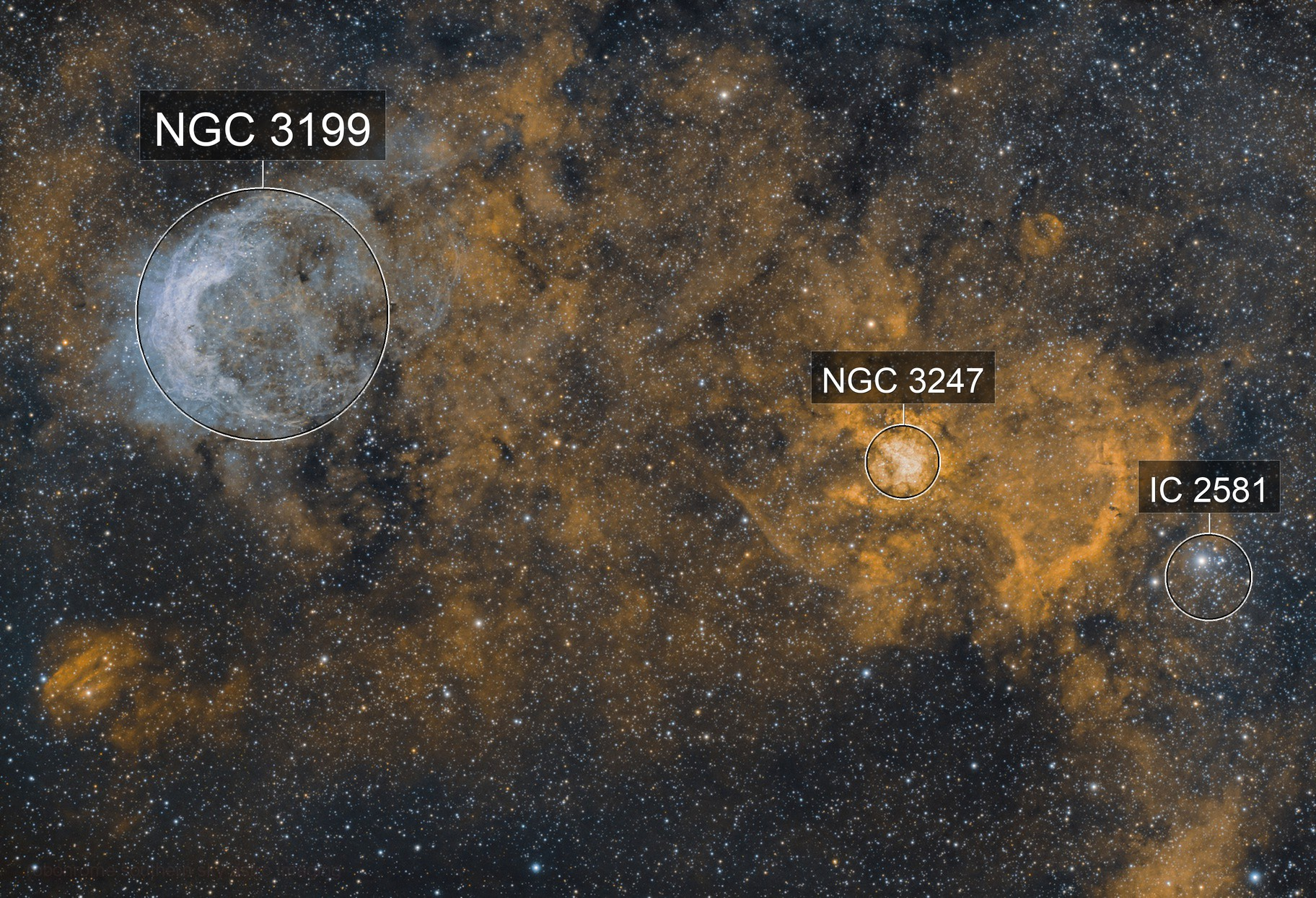 The cow jumped over the moon? NGC3247 (Whirling Dervish) and NGC3199 (Banana) nebulae