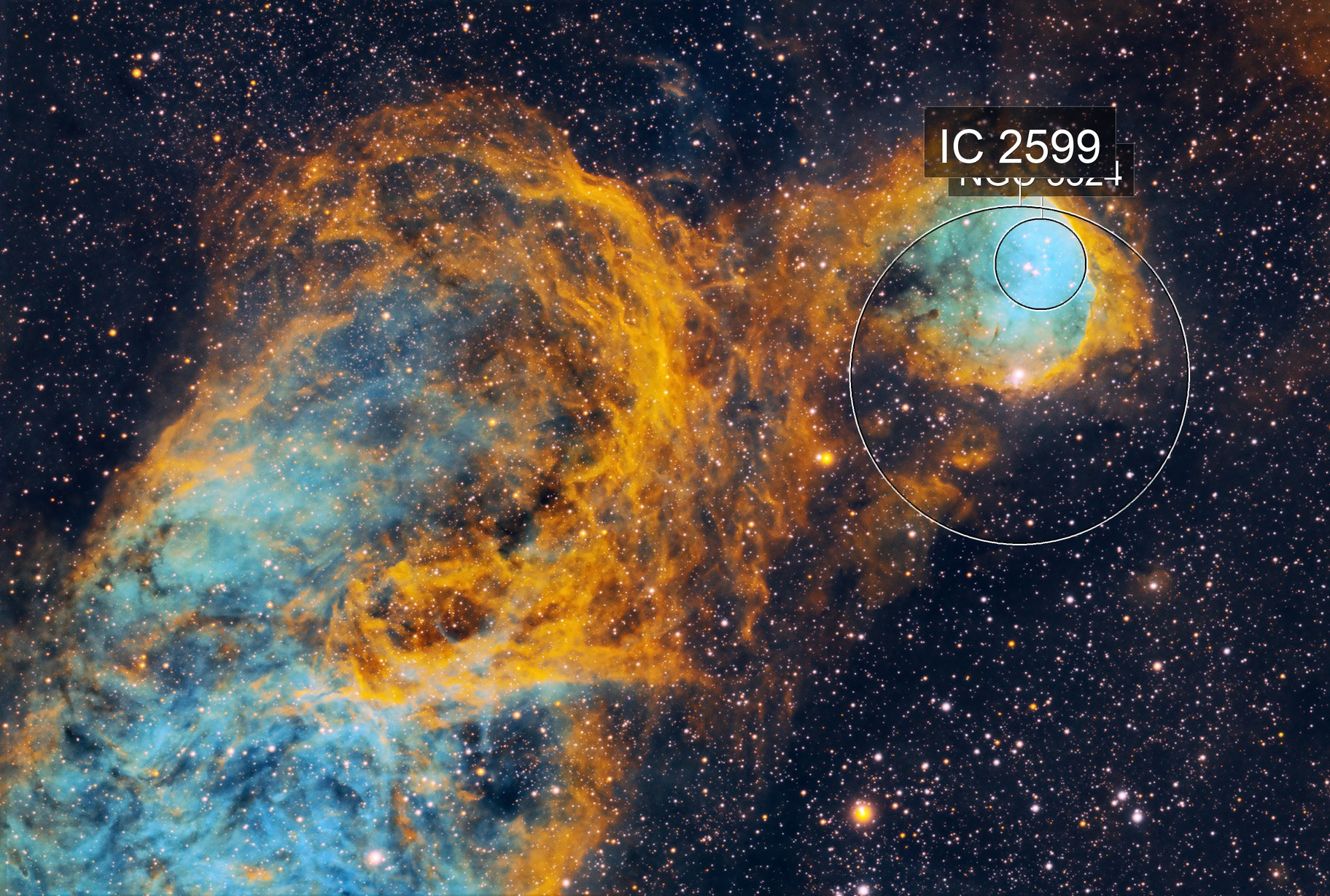 Great Balls of Fire!  NGC3324 in SHO