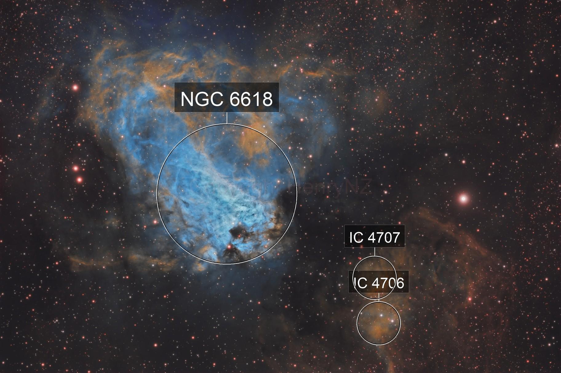 Swan Nebula in Hubble Palette