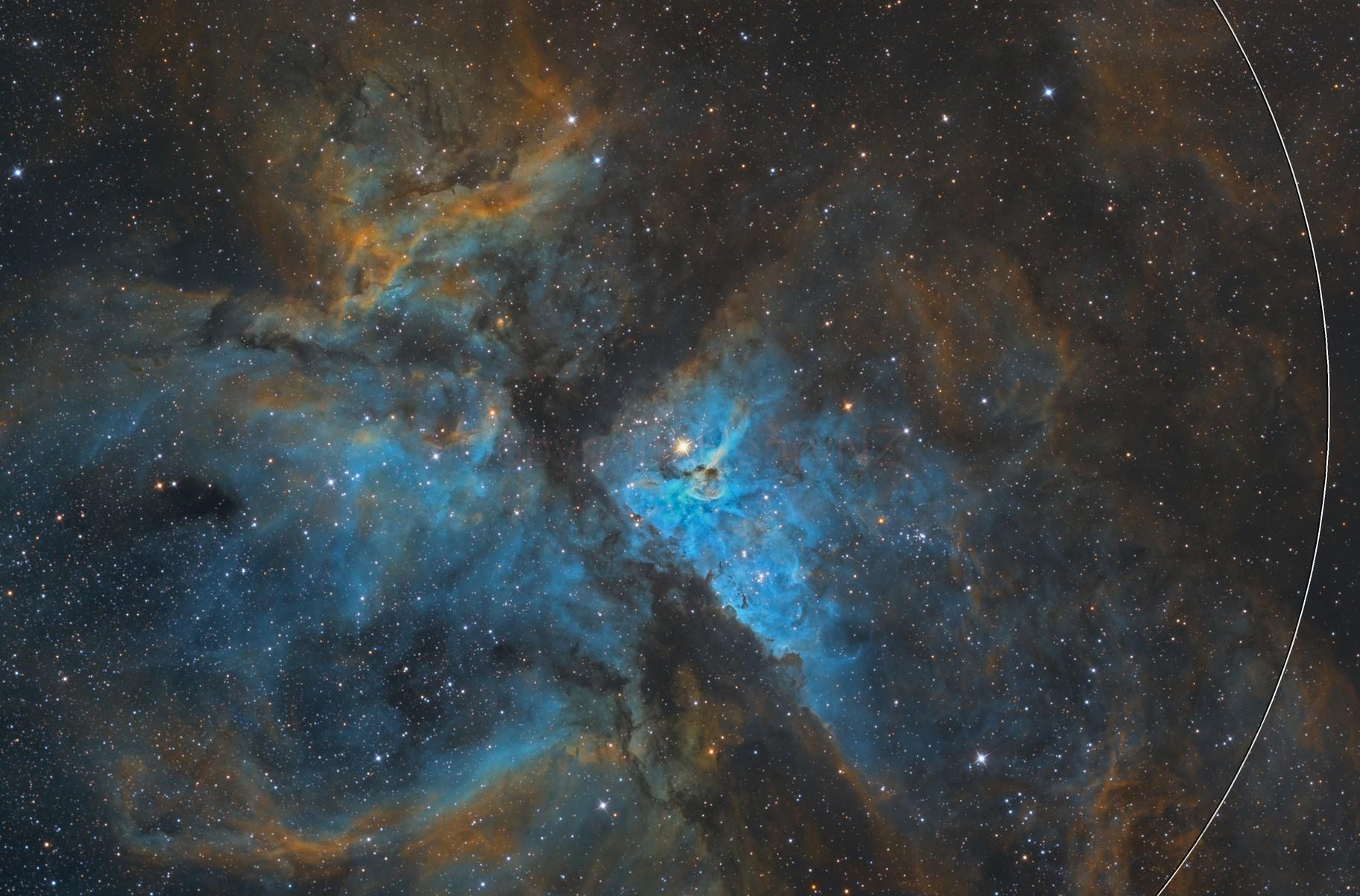 Eta Carina Nebula in Hubble Palette