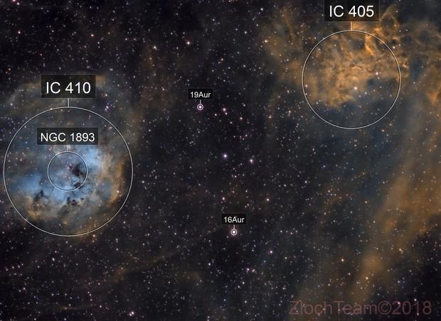 IC405 - L'étoile flamboyante/ IC410 - les tétards