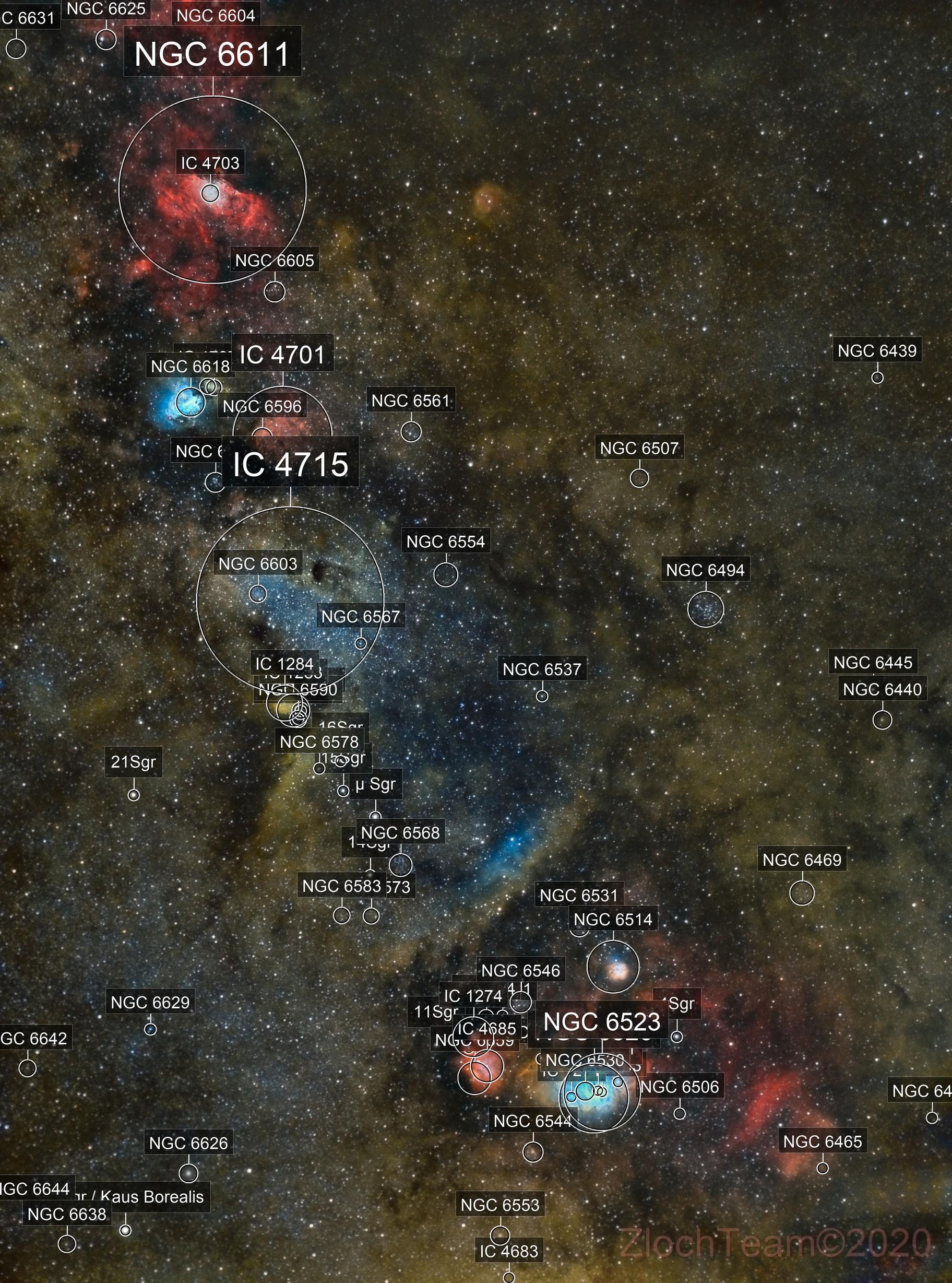 M8 M20 M17 M16 - Zone riche de la voie lactée