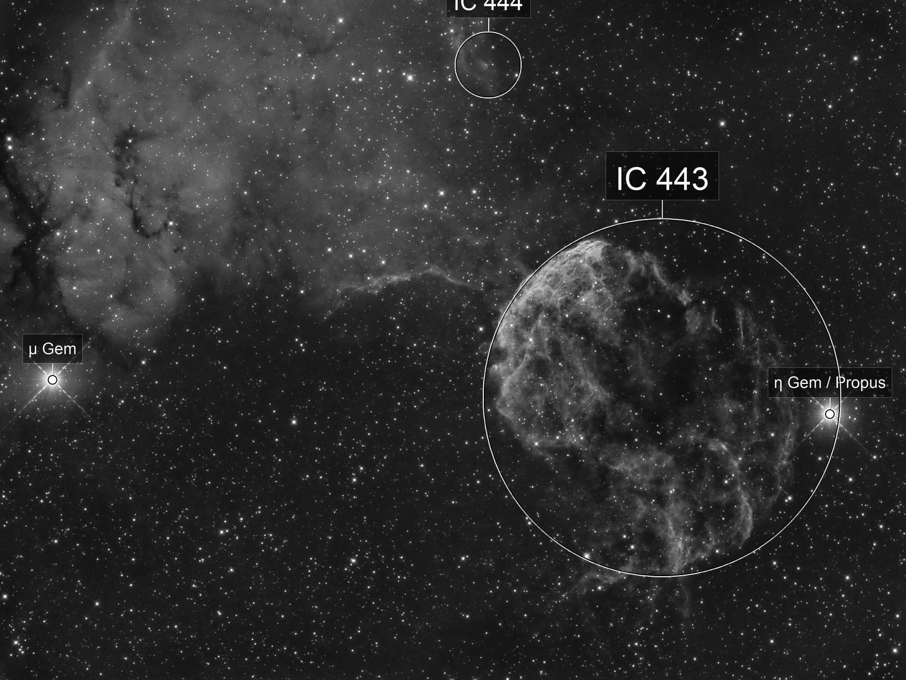 IC443 - La méduse (1st light of the E-130D)