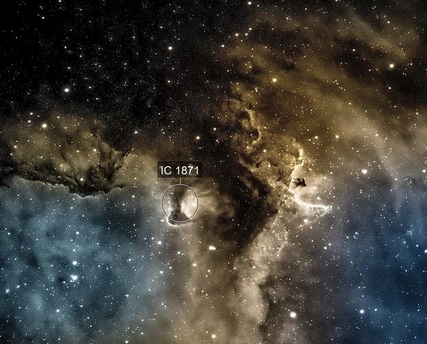 Nebulous portion of the Soul Nebula IC 1871