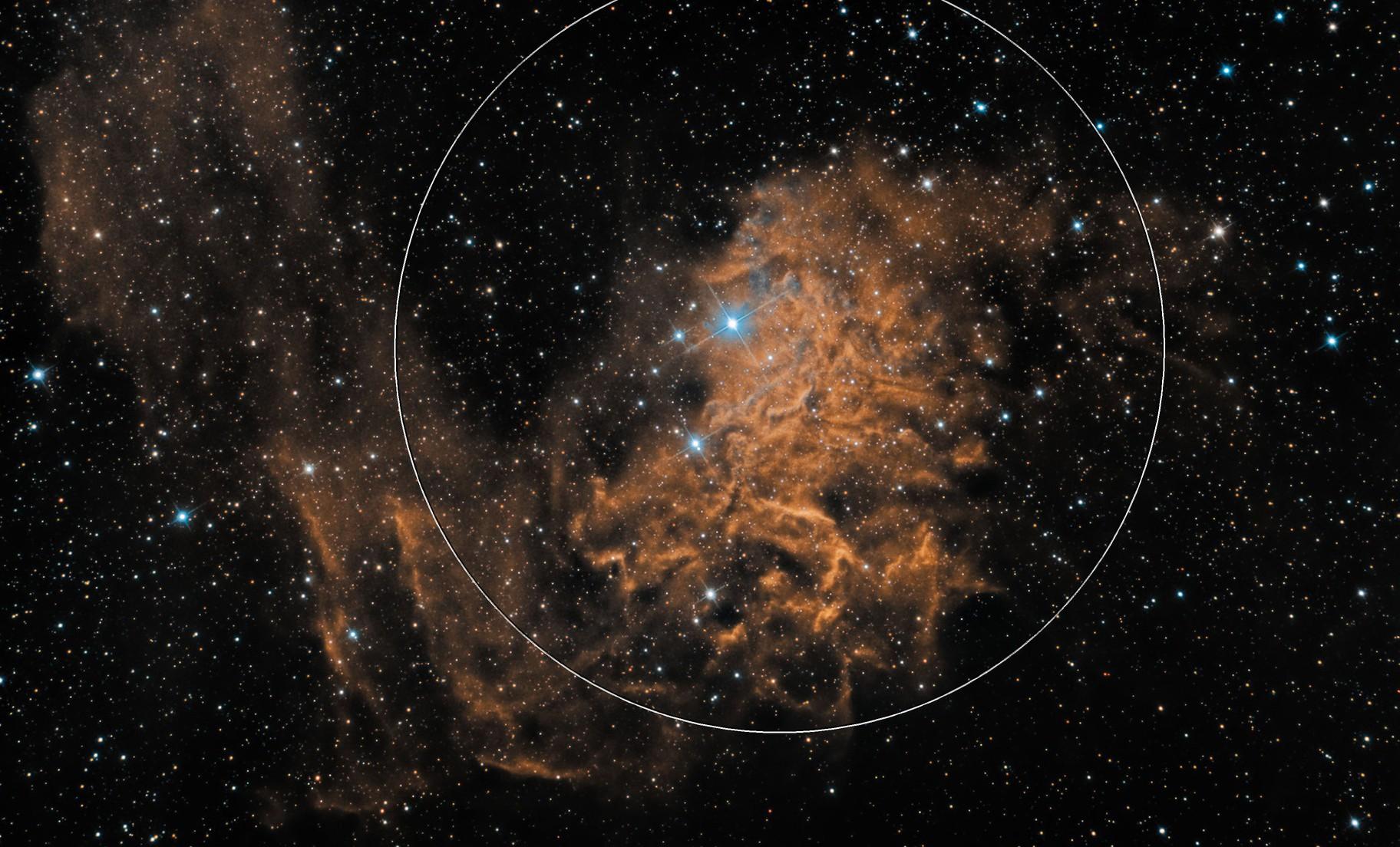 The Flaming Star Nebula - Narrowband and Broadband Combined