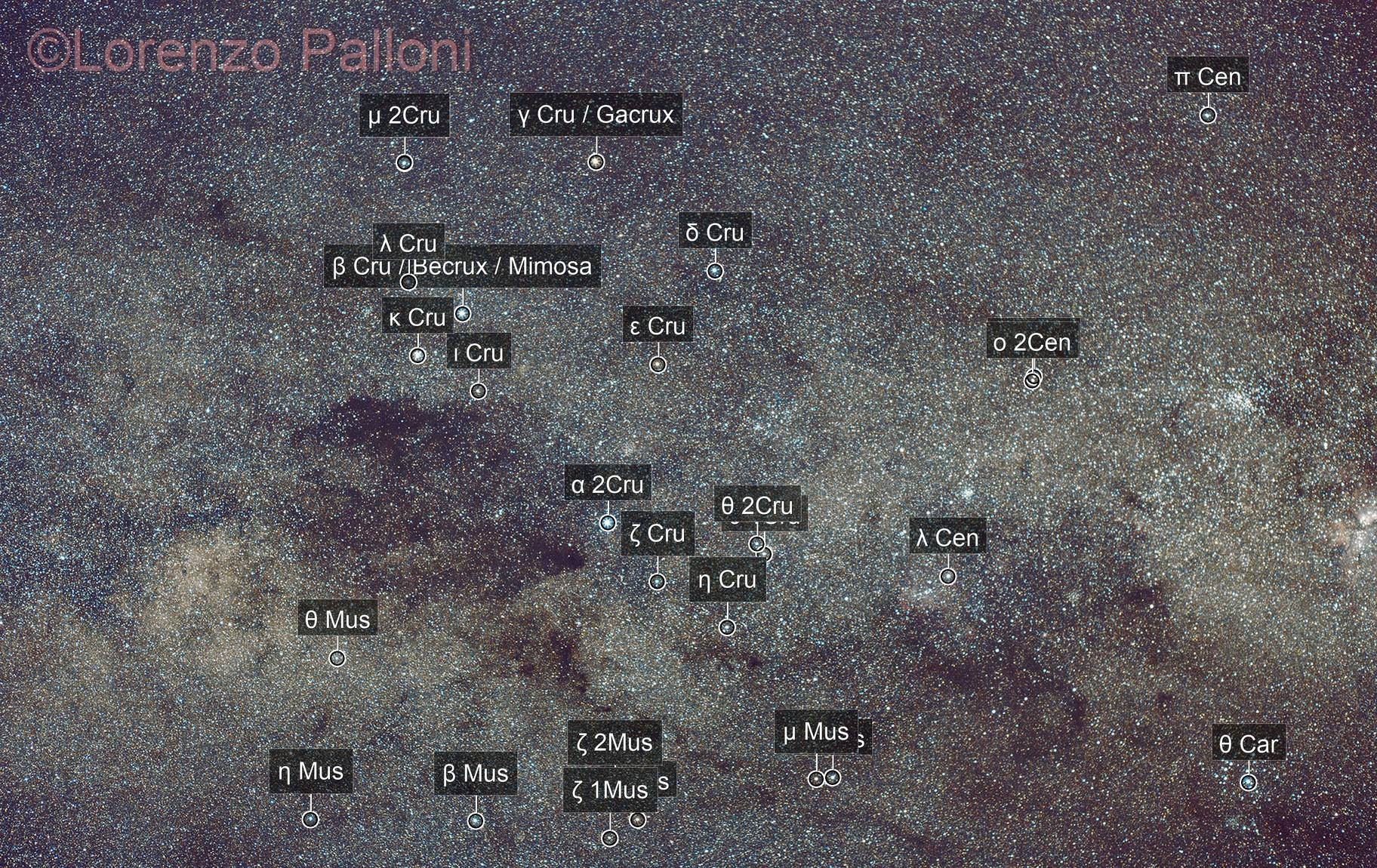 Southern Cross, Coal Sack Nebula widefield