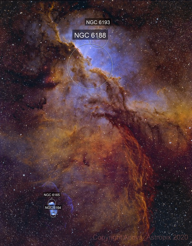 Enter the Dragons - NGC 6188 in HaO3S2RGB