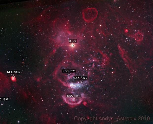 The Hookah Pipe Nebula - NGC 1871 & 1873 in Dorado