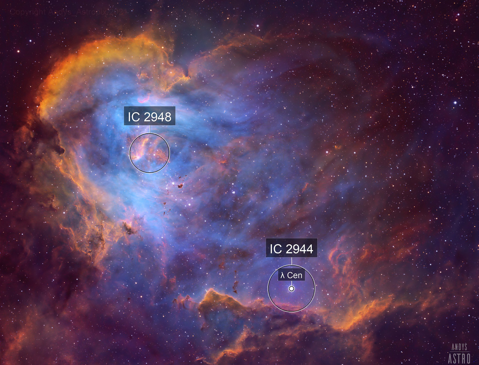 Do the Funky Chicken - IC 2944 in Narrowband