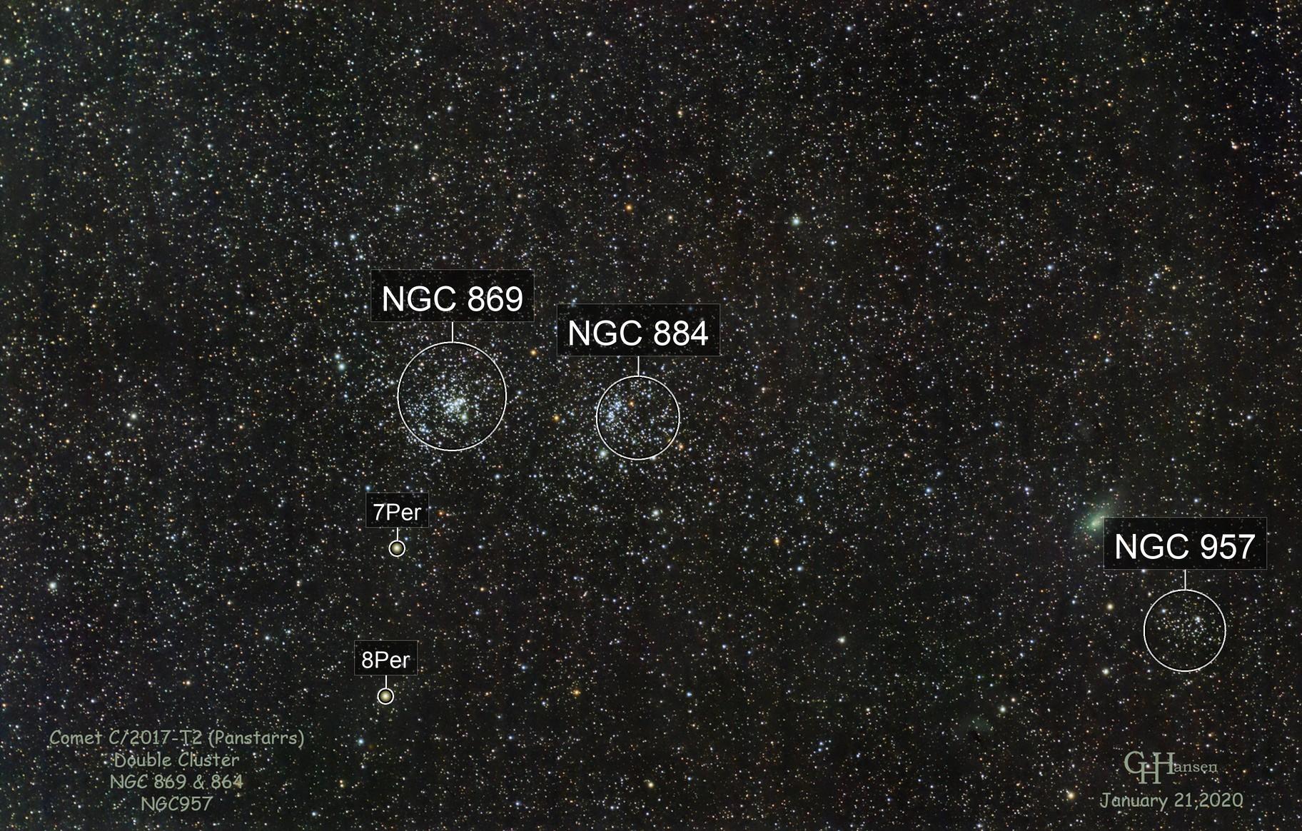 Comet C/2017-T2 (Panstarrs)  & Double Cluster