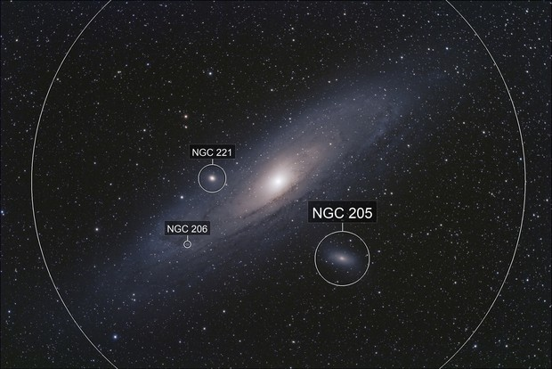Andromeda Galaxy, M31, with M32, and M110