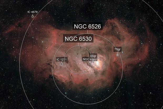 The Lagoon Nebula, M8, NGC 6523