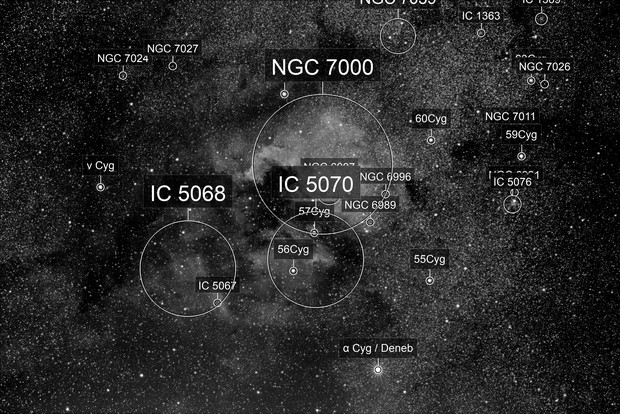 The North American and Pelican Nebulae, NGC 7000 and IC5070