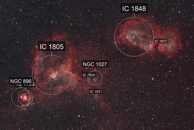 The Heart & Soul Neulae, IC 1805 and IC 1848